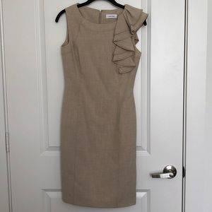 Calvin Klein nude ruffle professional dress